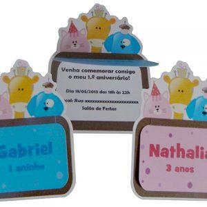 Convite aniversário infantil Bichinhos