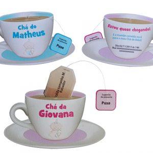 Convite chá de bebê xícara de chá