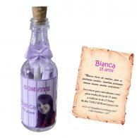 Convite dentro de uma garrafa de vidro