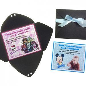 Mini Convite infantil com laço