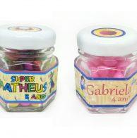 potinho de vidro personalizado para festa infantil