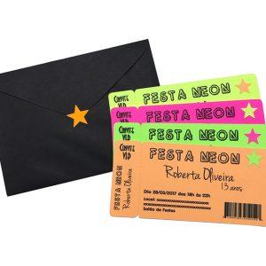Convite Ticket Balada Festa Neon