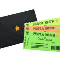 Convite Festa Neon Ticket Teen Menino